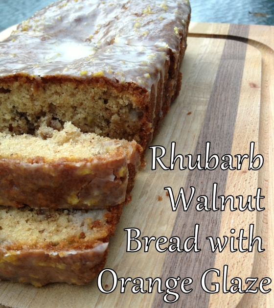 Rhubarb Walnut Bread with Orange Glaze