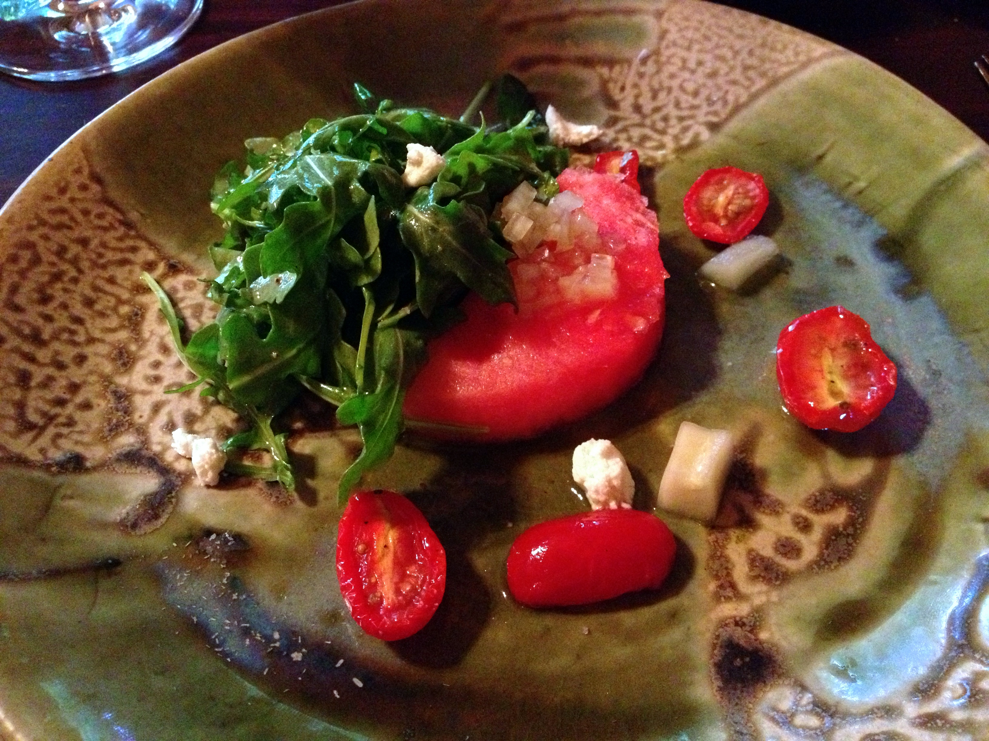 Watermelon salad with feta, cucumber and tomato