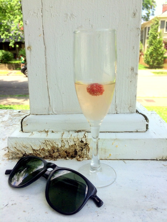 Champagne and Sunglasses on my front porch